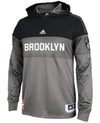 Adidas Men's Long Sleeve Brooklyn Nets On Court Shooter Shirt Gray