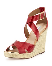 Olympia Patent Leather Espadrille Braided Wedge Sandal Red Charles David