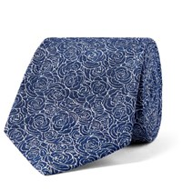 Turnbull And Asser 8Cm Floral Silk Jacquard Tie Navy