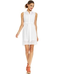 Spense Petite Sleeveless Eyelet Belted Shirtdress