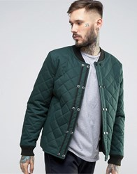 Asos Quilted Bomber Jacket With Double Fastening In Khaki Khaki Green
