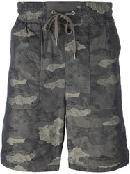 Helmut Lang Camouflage Print Shorts Grey