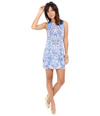 Lilly Pulitzer Mila Shift Dress Multi Tic Tac Tile Engineered Women's Dress Blue