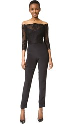 Monique Lhuillier Off Shoulder Jumpsuit Noir