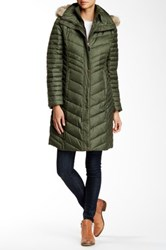 Andrew Marc New York Kendell Genuine Coyote Fur Trimmed Quilted Jacket Green