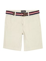 Howick Boston Chino Flat Front Shorts Stone