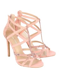 Jane Norman Coloured Cage Heels Coral