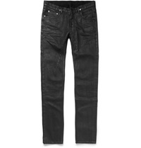 Rick Owens Slim Fit Coated Denim Jeans Black