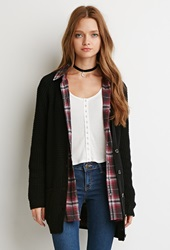 Forever 21 Ribbed Button Down Cardigan Black