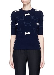 Thom Browne Hector And Bone Applique Wool Sweater Blue