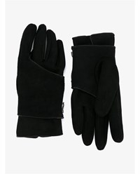 The Viridi Anne Leather And Suede Gloves Black White