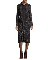 Public School Alice Convertible Plaid Midi Shirtdress Gray Grey