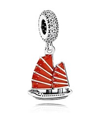 Pandora Design Pandora Dangle Charm Sterling Silver Cubic Zirconia And Enamel Chinese Junk Ship Red