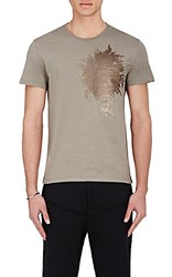Alexander Mcqueen Men's Sequin Embellished T Shirt Tan