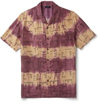 Lanvin Camp Collar Printed Silk Shirt Burgundy