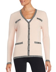 Karl Lagerfeld Ribbed Button Front Cardigan Petal