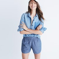 Madewell Cotton Linen Pull On Shorts In Chambray Stripe