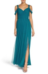 Watters Women's 'Gladiola' Off The Shoulder Tulle A Line Gown Viridian