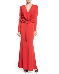 Rachel Zoe Long Sleeve Cowl Neck Gown