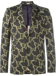 Paul Smith Ps By Heart Chain Pattern Blazer Blue