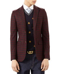 Gucci Monaco Check Wool Cashmere Jacket Blue