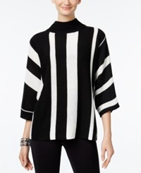 Ny Collection Mock Neck Striped Sweater Black Ivory Combo