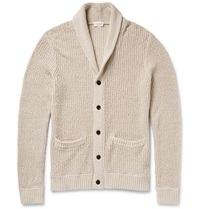 Club Monaco Ribbed Cotton And Linen Blend Shawl Collar Cardigan White