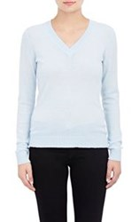 Barneys New York Cashmere V Neck Sweater Blue