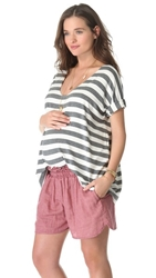 Hatch The Perfect V Neck Tee Grey And White Stripe