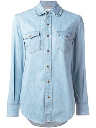 Saint Laurent Ruffle Collar Western Shirt Blue