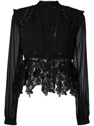 Self Portrait Lace Detail Blouse Black