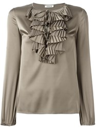 P.A.R.O.S.H. Ruffled Front Top Grey