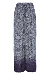Roman Originals Printed Palazzo Trousers Navy