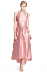 Women's Alfred Sung High Low Hem Sateen Twill Open Back Gown Blossom