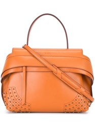 Tod's Top Cap Medium Tote Yellow And Orange
