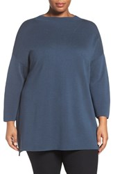 Eileen Fisher Plus Size Women's Funnel Neck Silk And Organic Cotton Knit Fir