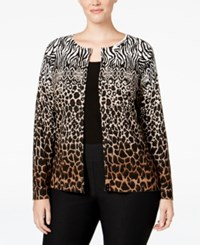 Charter Club Plus Size Animal Print Cardigan Only At Macy's Salty Nut Combo