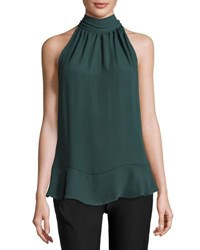 Max Studio Tie Neck Sleeveless Blouse Evergreen