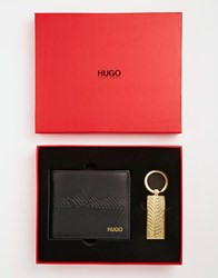 Hugo Boss Grino Leather Billfold Wallet With Coin Pocket And Keyring Gift Set Black
