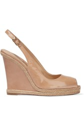 Rene Caovilla Patent Leather Wedge Sandals Nude