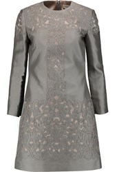 Temperley London Luz Embroidered Silk Blend Mini Dress Gray