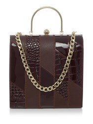 Therapy Fiona Patchwork Frame Handbag Brown