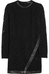 Tom Ford Leather Trimmed Guipure Lace Mini Dress Black