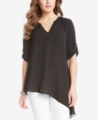 Karen Kane Asymmetrical Roll Tab Tunic Black