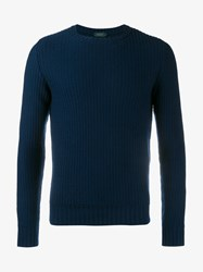 Incotex Virgin Wool Sweater Navy Blue Denim