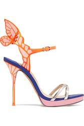 Sophia Webster Chiara Metallic Patent Leather Platform Sandals Pink Blue
