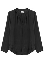 Velvet Embroidered Blouse Black