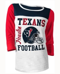 5Th And Ocean Women's Houston Texans Three Quarter Glitter T Shirt Red