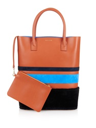 Mother Of Pearl Striped Leather And Suede Shopper Bag