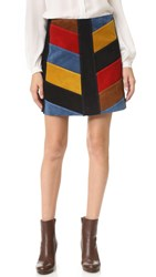 Mih Jeans Chevron Suede Skirt Multi